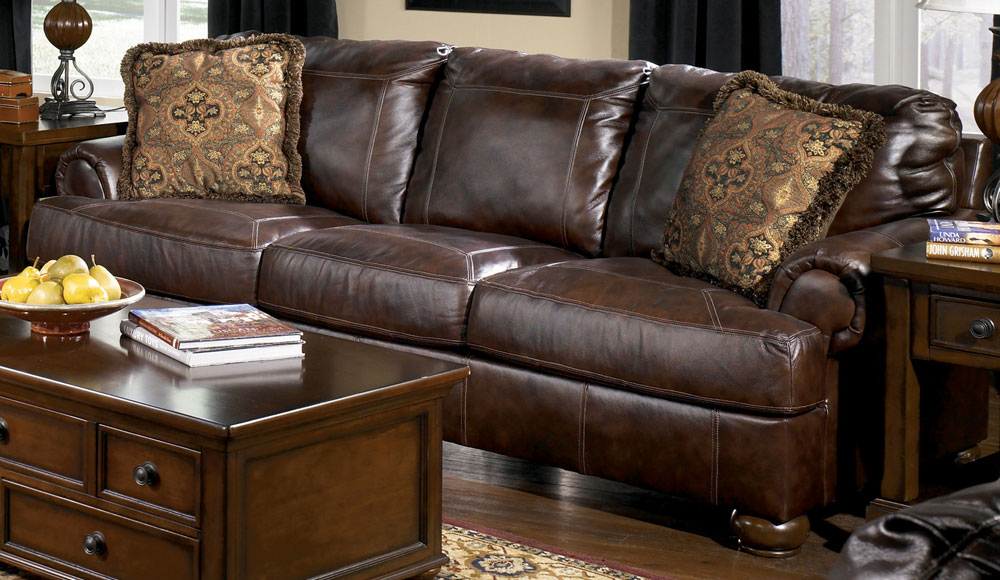 Reverse Auction   Ashley Furniture Axiom Walnut Leather Sofa, Loveseat,  Chair U0026 1/2, And Ottoman
